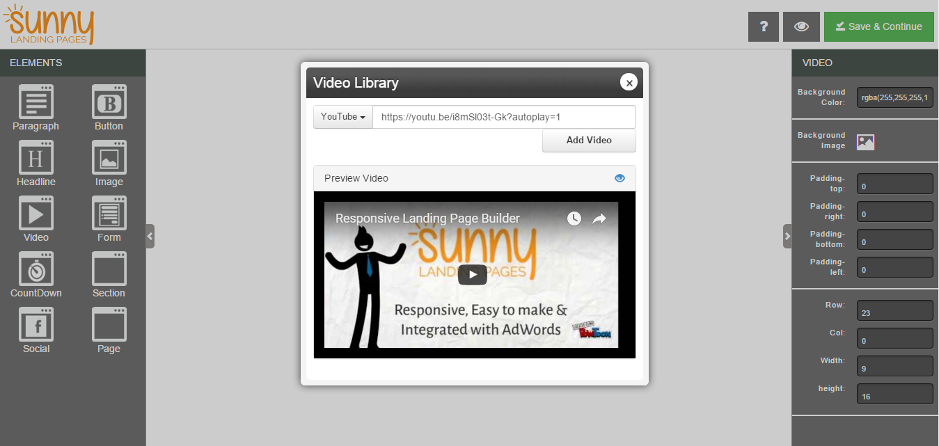 How to autoplay your youtube or vimeo video on your Landing