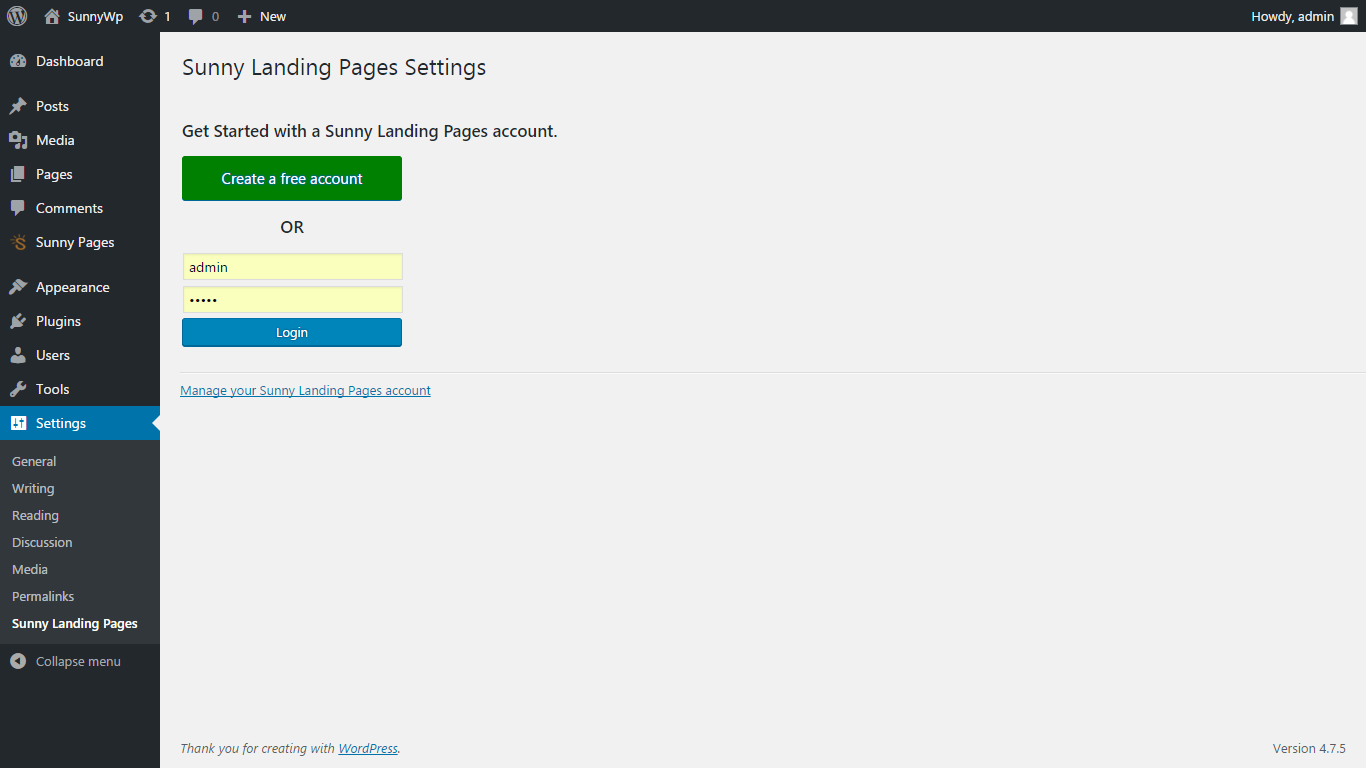 Create your landing page account