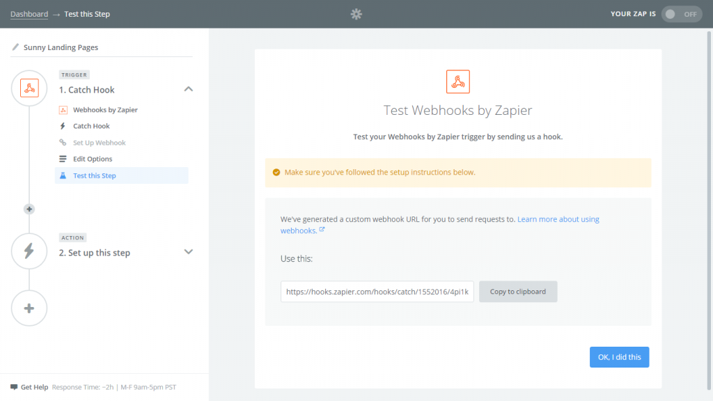 Zapier web hook screenshot