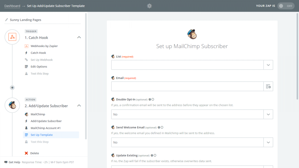 mailchimp zapier details screenshot