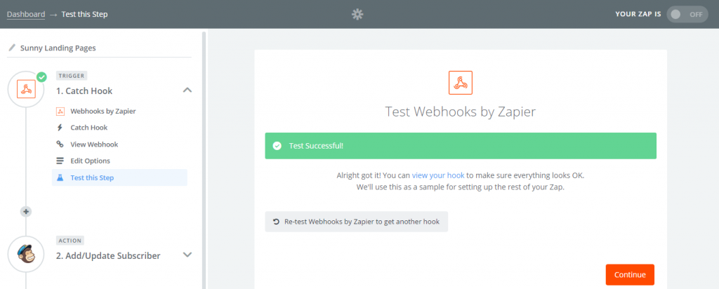 zapier webhook success