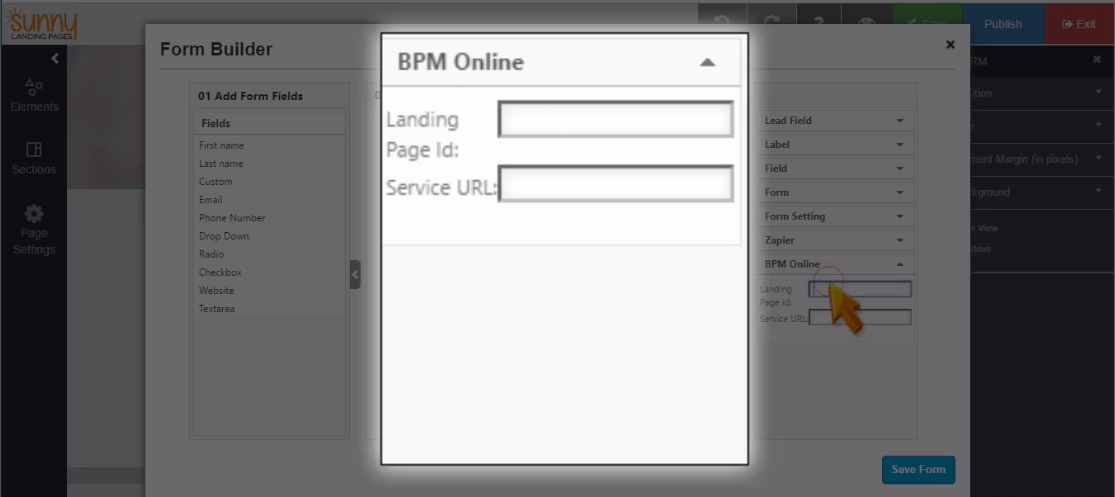 Landing Page Bpmonline landing page id and service url
