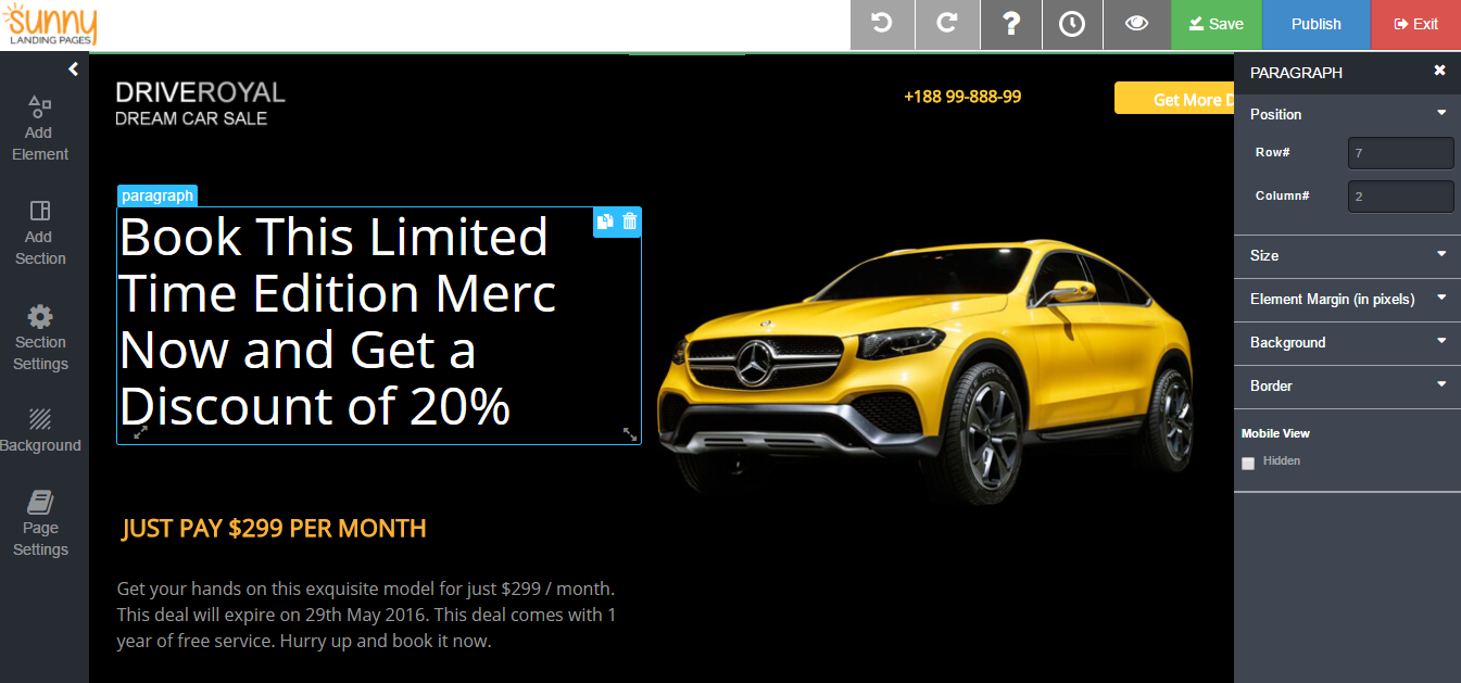 Landing Page Builder_auto car sale