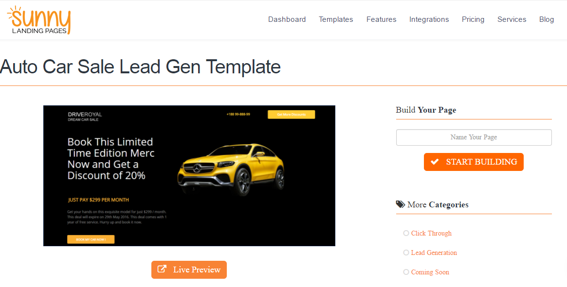 View Landing Page template