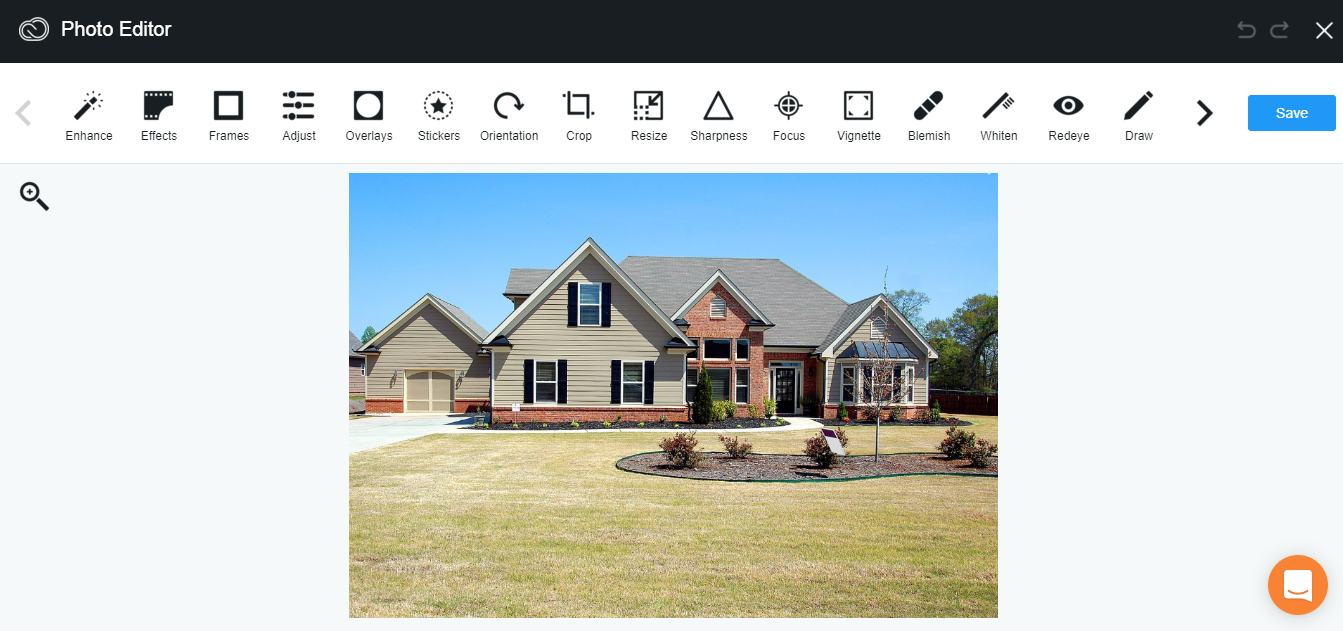 landing page image editor dashboard