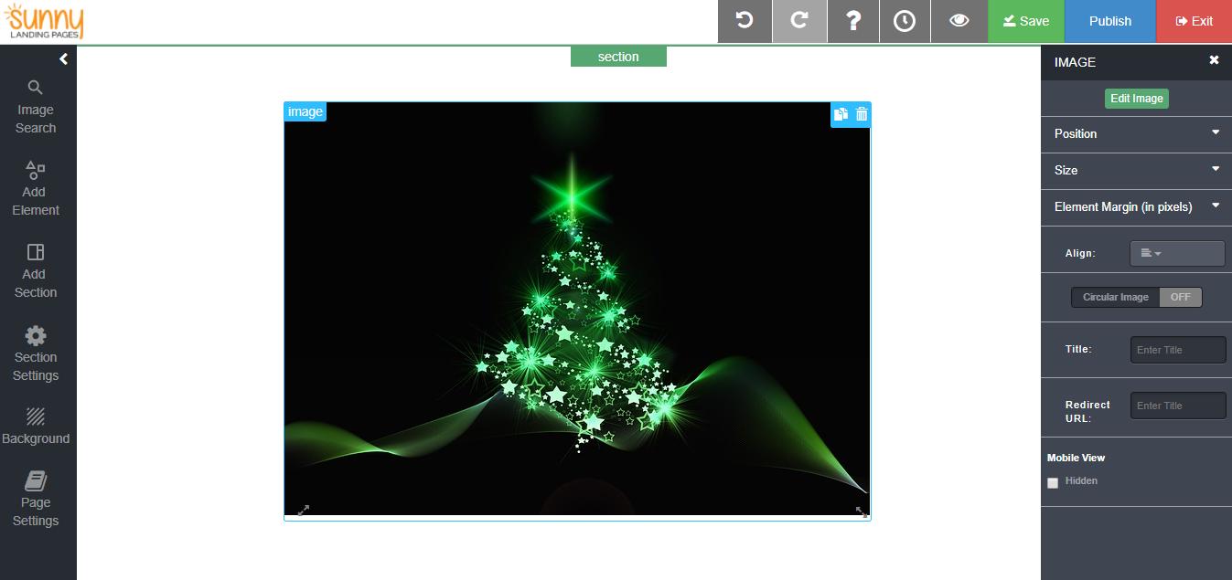 christmas tree landing page