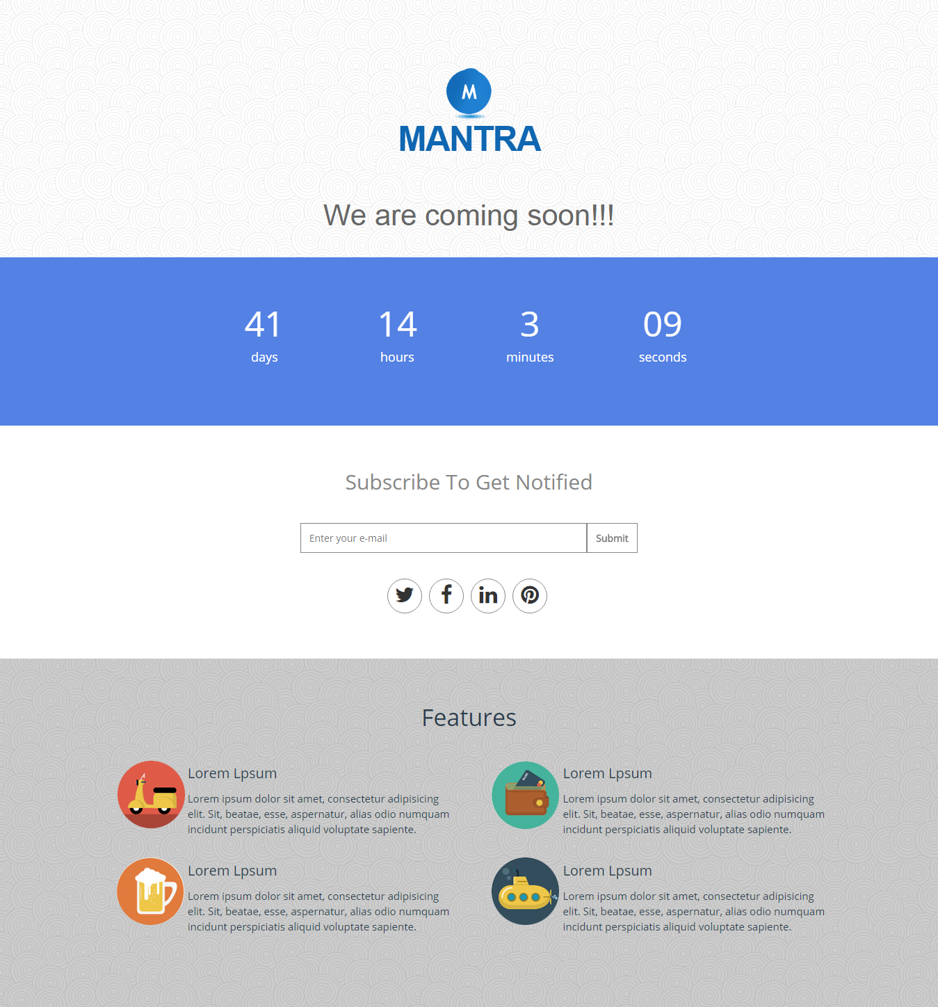 Mantra HTML Template