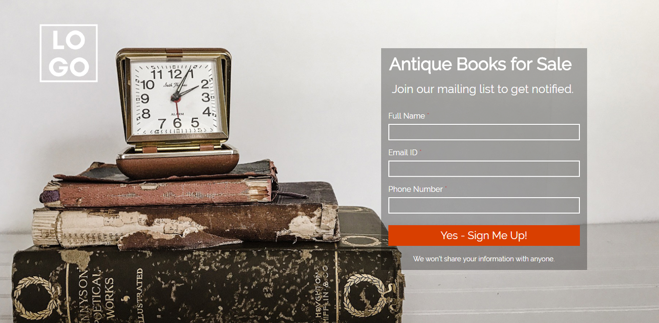 Antique Books for Sale Wordpress Landing Page Template