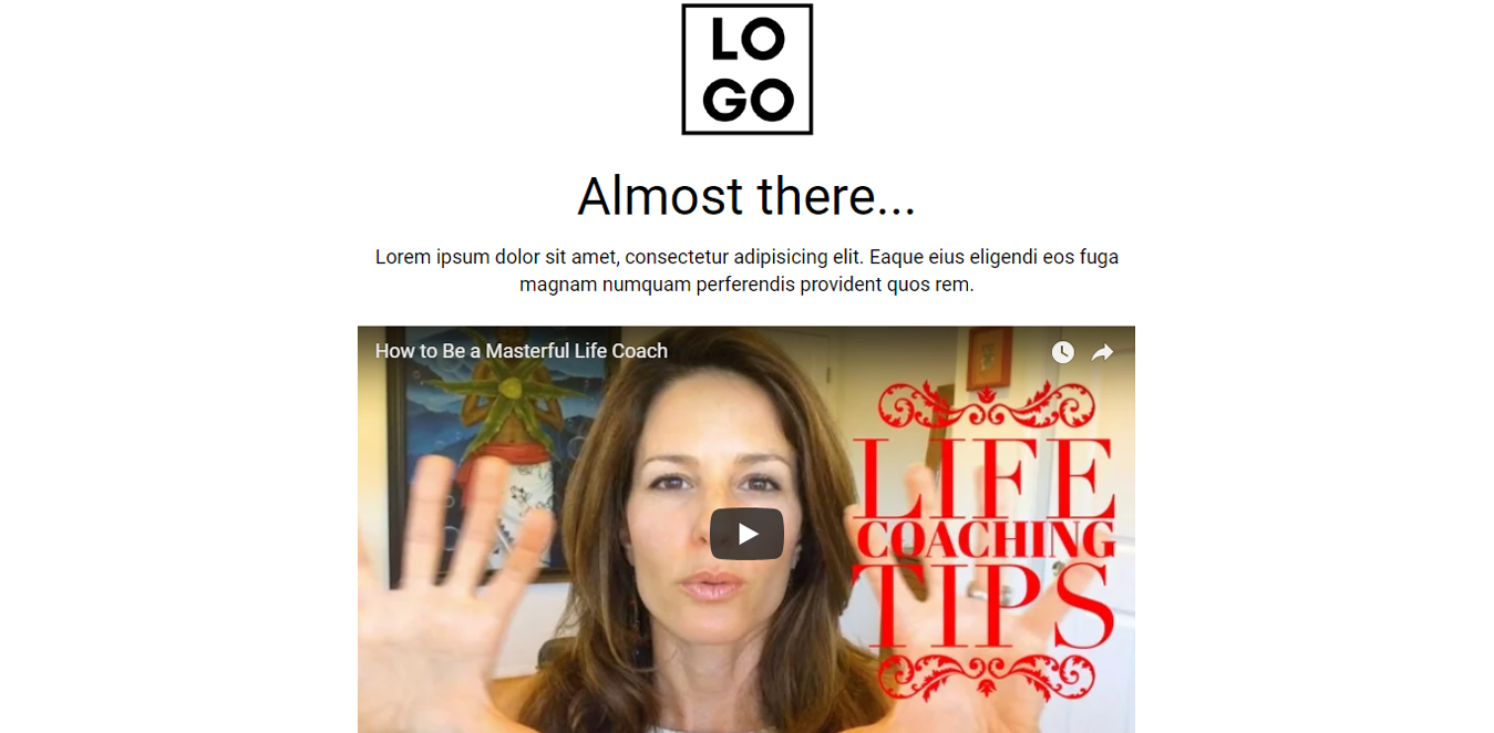 Life Coach Video Wordpress Landing Page Template