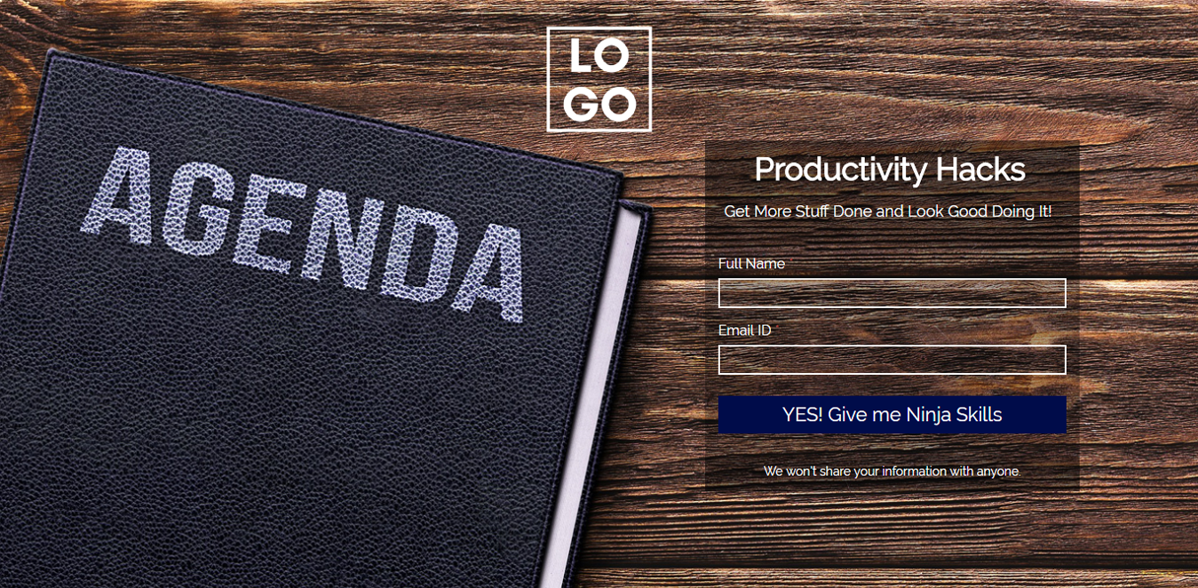 Productivity Hacks Wordpress Landing Page Template