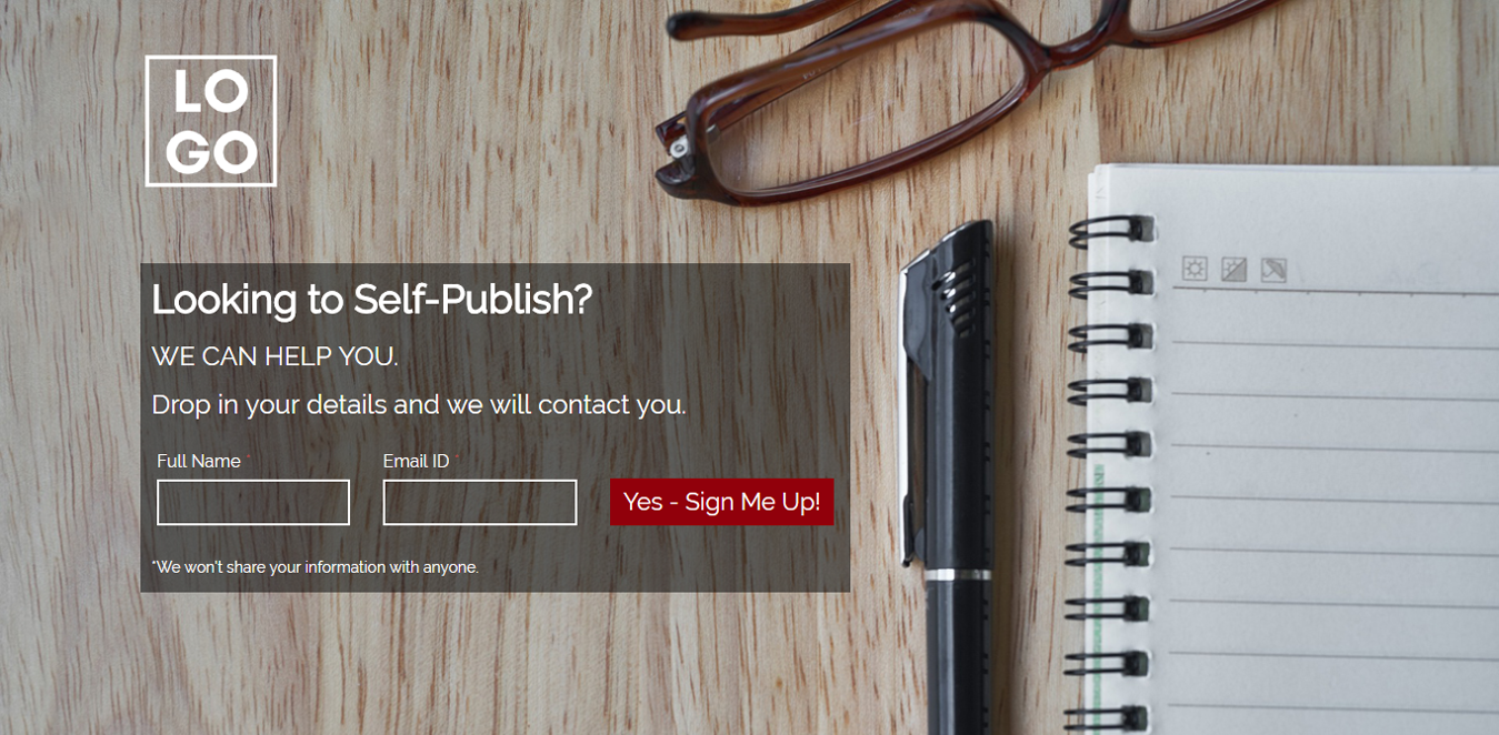 Self Publish Wordpress Landing Page Template