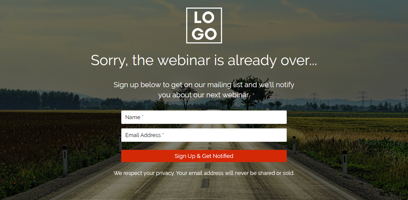 Sorry Webinar's Over Wordpress Landing Page Template