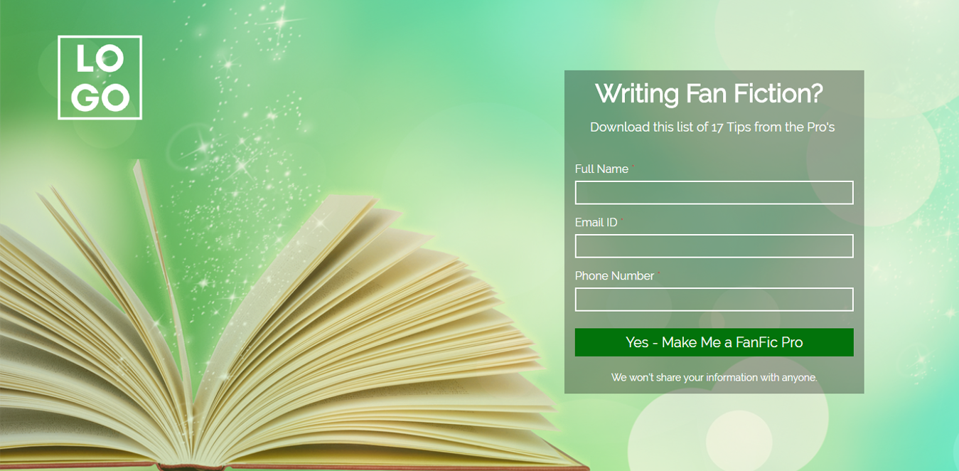 Writing Fan Fiction Wordpress Landing Page Template